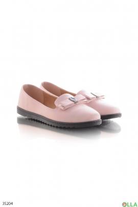 Розовые балетки с бантиком