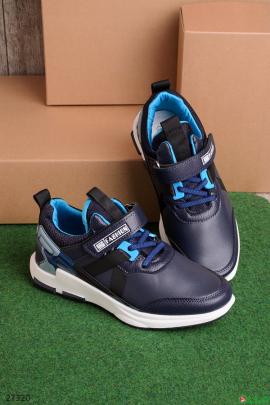Синие кроссовки на липучке и шнуровке