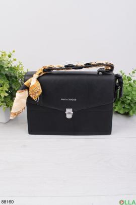 Женская черная сумка с платком