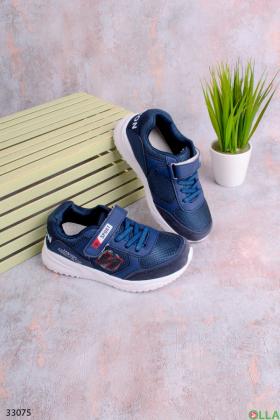 Синие кроссовки с липучкой