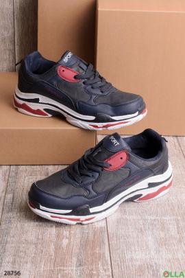 Мужские кроссовки черно-синего цвета