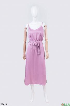 Женский розовый сарафан с поясом
