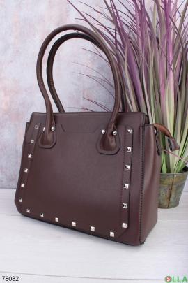 Женская коричневая сумка из эко-кожи