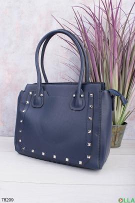 Женская синяя сумка из эко-кожи