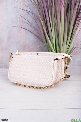 Женская бежевая сумка из эко-кожи