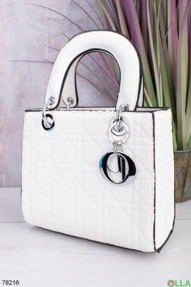 Женская белая сумка из эко-кожи