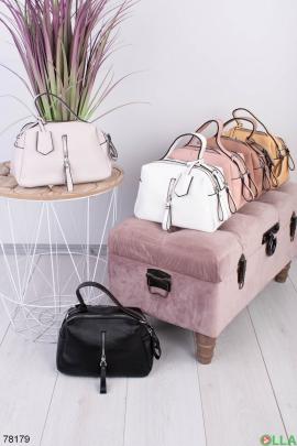 Женская серая сумка из эко-кожи