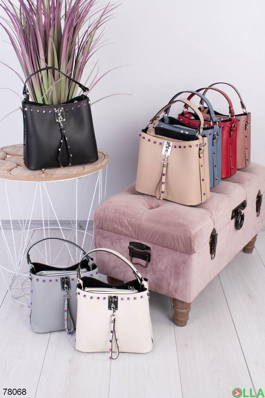 Женская черная сумка из эко-кожи