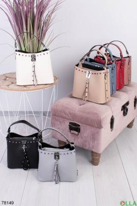 Женская светло-бежевая сумка из эко-кожи