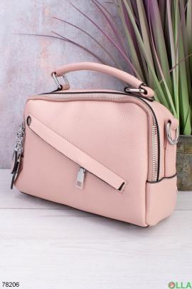 Женская розовая сумка из эко-кожи