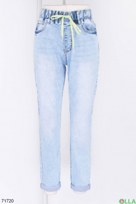 Женские голубые джинсы