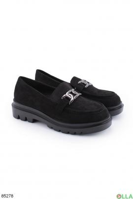Женские черные туфли с цепочкой