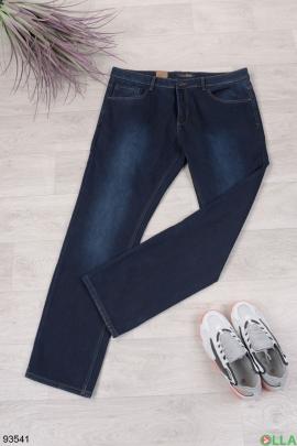 Мужские темно-синие джинсы на флисе