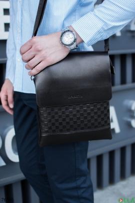 Мужская черная сумка из эко-кожи