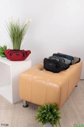 Мужская красная сумка-бананка