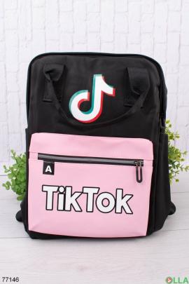 Женский черно-розовый рюкзак с принтом