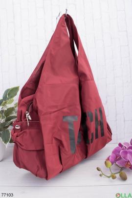 Женская бордовая спортивная сумка
