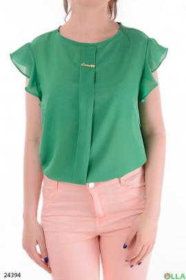 Легкая женская блузка зеленого  цвета