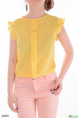 Легкая женская блузка желтого  цвета