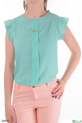 Легкая женская блузка голубого  цвета