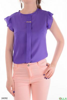 Легкая женская блузка фиолетового  цвета