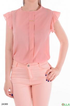 Легкая женская блузка розового  цвета