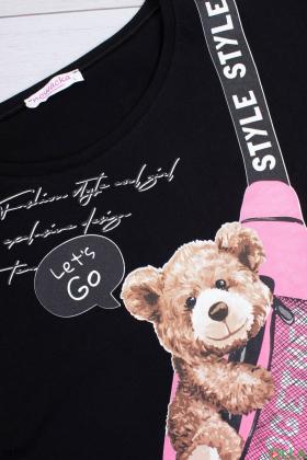 Женская черная футболка с рисунком