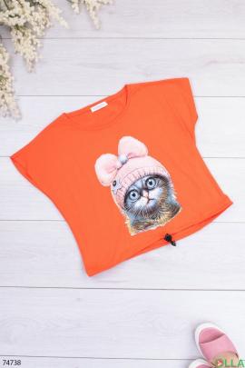 Женская оранжевая футболка с рисунком