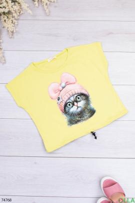 Женская салатовая футболка с рисунком