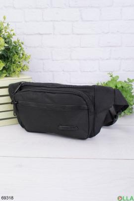 Мужская черная сумка-бананка