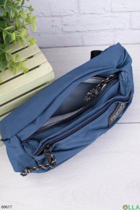 Мужская синяя сумка-бананка
