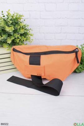 Мужская оранжевая сумка-бананка