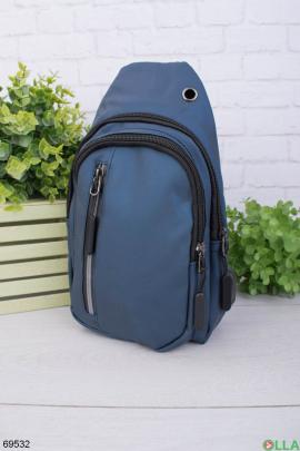 Мужская темно-синяя сумка-бананка