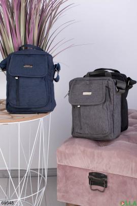 Мужская синяя сумка на длинном ремешке