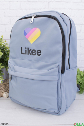 Женский голубой рюкзак с принтом