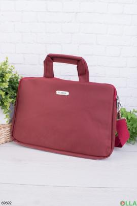 Бордовая сумка для ноутбука