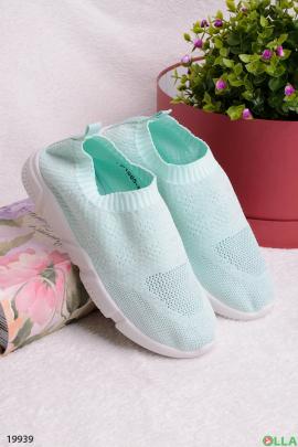 Голубые кроссовки без шнуровки
