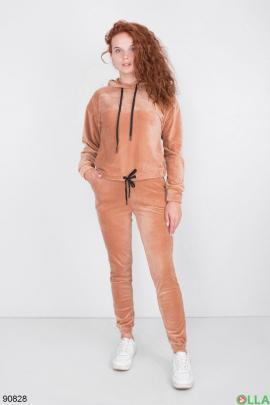 Женский светло-бежевый спортивный костюм из велюра
