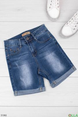 Женские синие шорты
