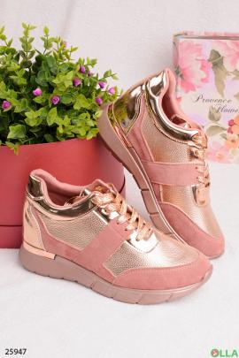 Розовые кроссовки с золотыми вставками