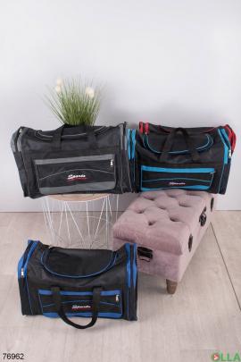Мужская черно-серая спортивная сумка