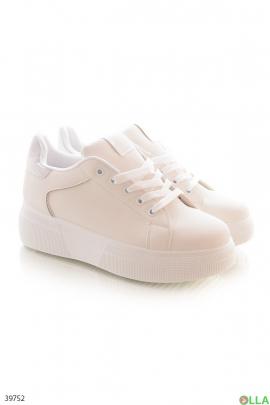 Женские  кроссовки молочного цвета