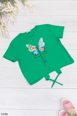 Женская зеленая футболка с рисунком