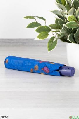 Женский синий зонт с принтом