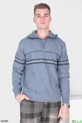 Мужской серый свитер с орнаментом
