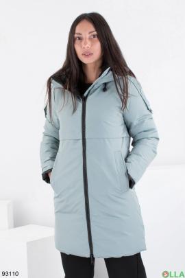 Женская зимняя бирюзовая куртка-трансформер с капюшоном