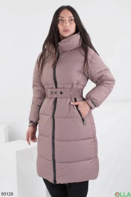 Женская зимняя коричневая куртка с капюшоном