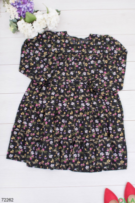 Женское черное платье в цветочный принт