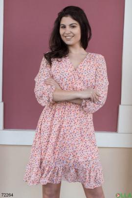 Женское розовое платье в цветочный принт