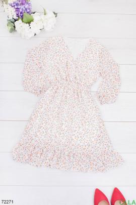 Женское белое платье в цветочный принт